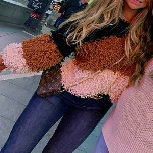 Shaggy color block sweater